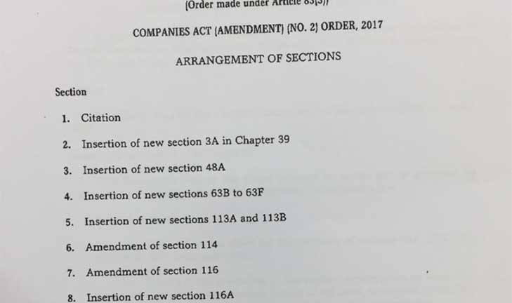 Brunei Government Gazette May 2017 amendments to the Companies Act and to the Insolvency Order – available