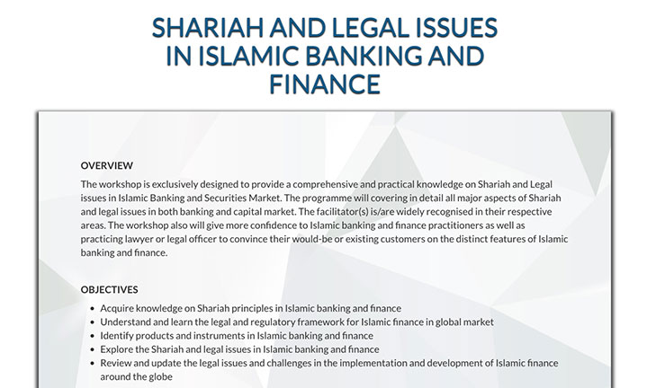Workshop 17/18 April 2018 – Shariah & Legal Issues in Islamic Banking and Finance